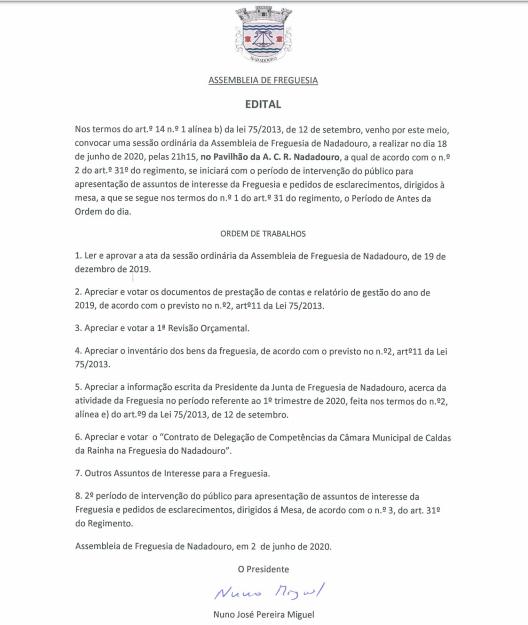 EDITAL - ASSEMBLEIA DE FREGUESIA